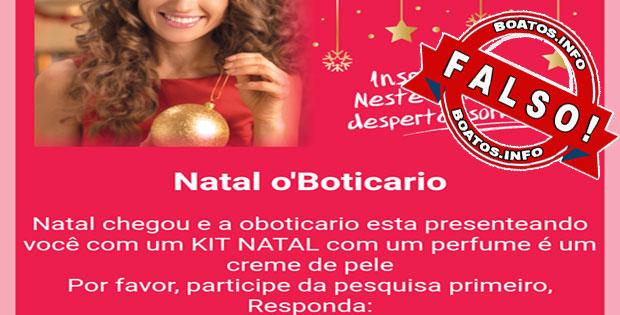 O Boticário está dando Kit de Natal - perfume e creme de pele - FALSO