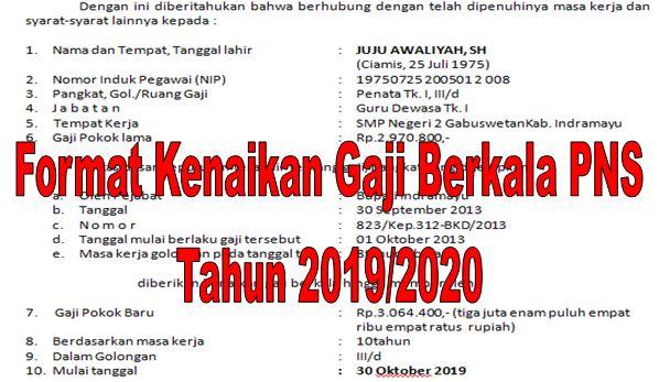 Format Kenaikan Gaji Berkala PNS Tahun 2019/2020 - Homesdku