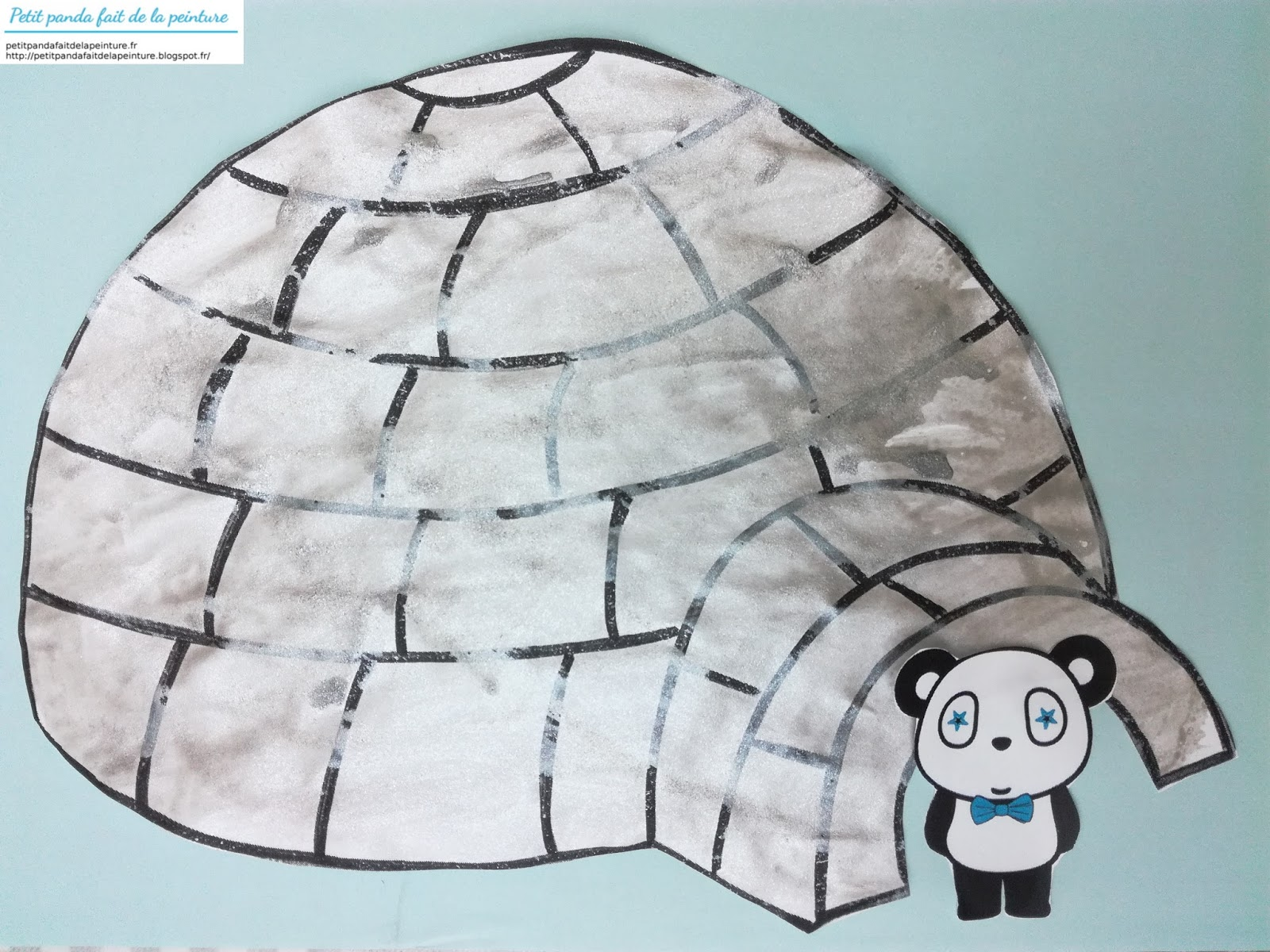 Petit Panda Fait De La Peinture Theme Hiver Un Igloo A La