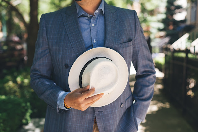 Blazer with snare fedora.