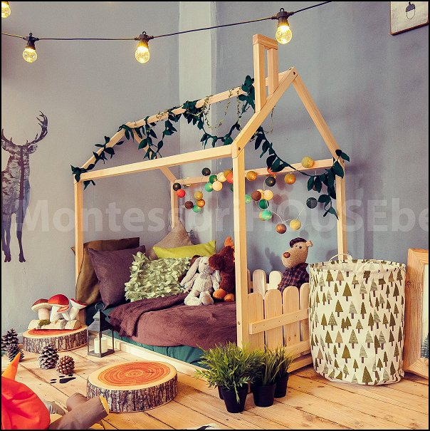 tent bed is wood house  woodland forest theme bedroom ideas - forest fairies decor - woodland fairy room decor -  woodland murals  - woodland animal decorations - forest animals - fairy woodland bedrooms - snow white themed bedroom decorating ideas - magical woodland fairy forest theme bedrooms - Forest themed bedding -  Toddler Teddy Bear Beds - Teddy Bear Headboards - toddler woodland bedroom