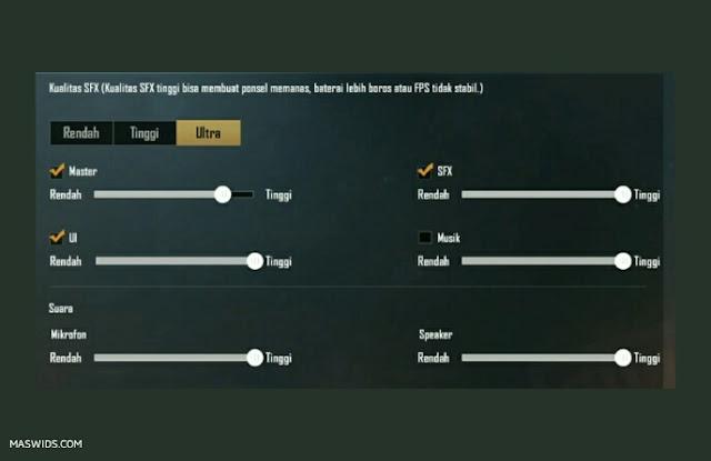 setting audio suara ultra pubg mobile