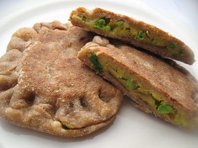 stuffed parathas with potato and peas