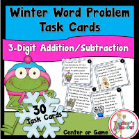 Winter Word Problem Task Cards using 3 Digit Numbers