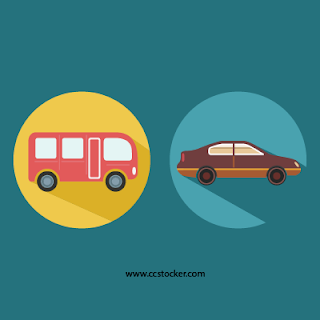 School bus and Car illustration