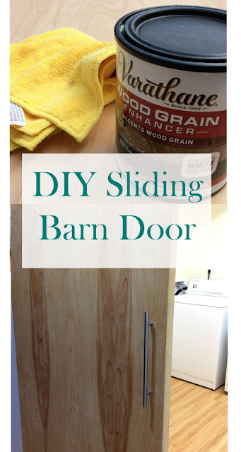 DIY your own barn style door using a slab and pocket door hardware.