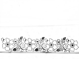 Flower Border Pencil Drawing with paper for hand emroidery and machine emroidery saree.