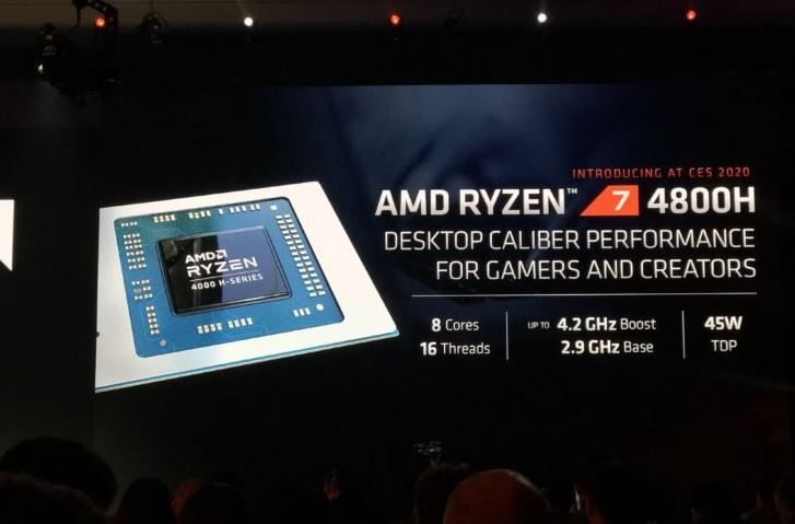 The AMD Ryzen 4000 hybrid processors are introduced. The 8-core Ryzen 7 4800H mobile processor outperforms the desktop Intel Core i7-9700K