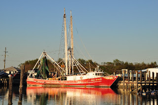 Shrimp boat at a dock