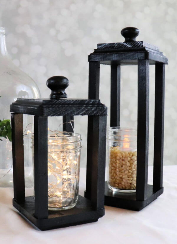 DIY black lanterns