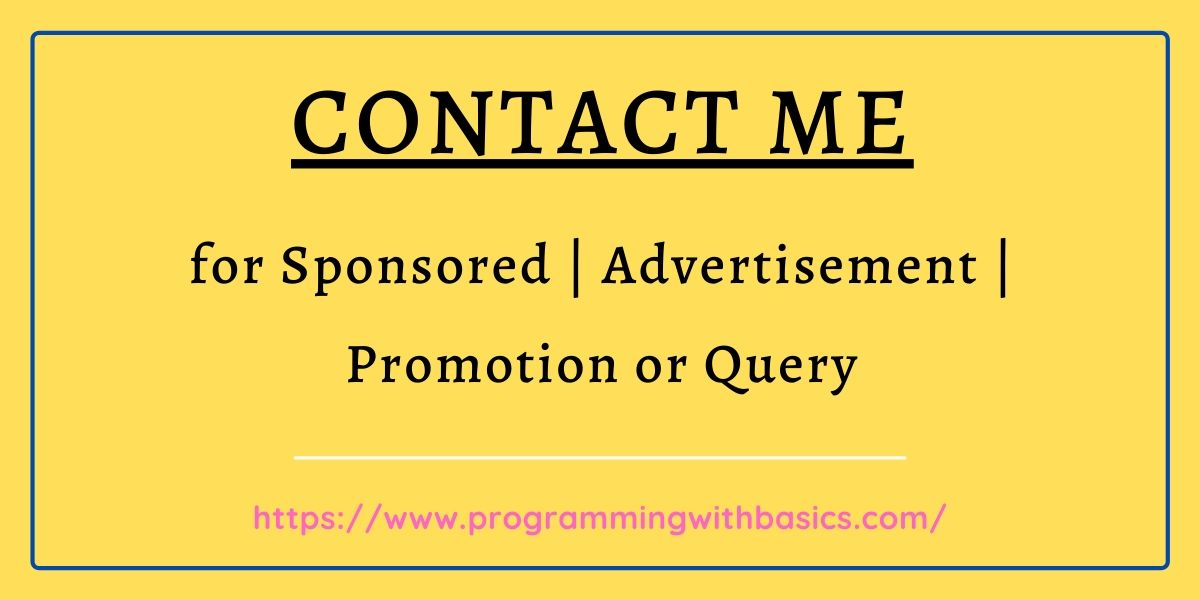 Contact me for Sponsored, Advertisement, Promotion