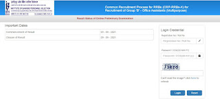 IBPS CRP RRBs X Office Assistant (Multipurpose) Result 2021
