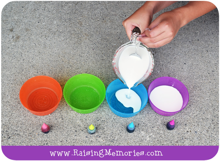 Food Colouring Sidewalk Chalk Paint Tutorial