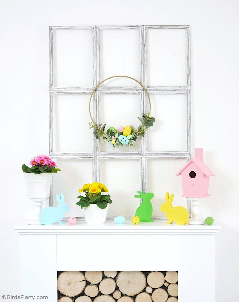 Easter Mantel Pastel Decor DIYs - easy craft projects, including a window frame and a wreath to decorate your home for spring and Easter! by BirdsParty.com @birdsparty #easter #mantel #psing #easterdecor #eastermantel #springdecor #springmantel #springwreath #springdiy #springcrafts #easterdiy #eastercrafts #easterwreath #diywindowframe #farmhousedecor #dolartreedecor #pasteleaster