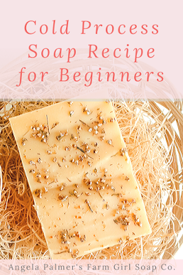 Want to learn how to make soap from scratch? This easy 2 oil cold process soap recipe is the perfect cold process soap recipe for beginners. Pin to save then click over to my farm blog to get the full soap making tutorial. #farmgirlsoapco #howtomakesoapfromscratch #easycoldprocesssoaprecipe
