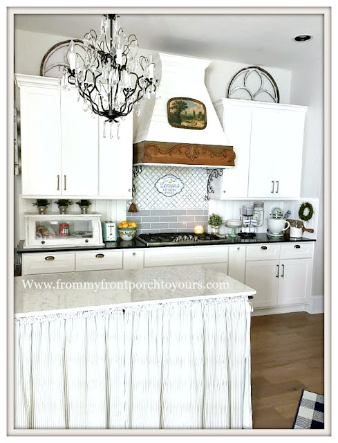 Farmhouse Cottage Kitchen-White Cabinets-Kitchen Island Chandelier-From My Front Porch To Yours
