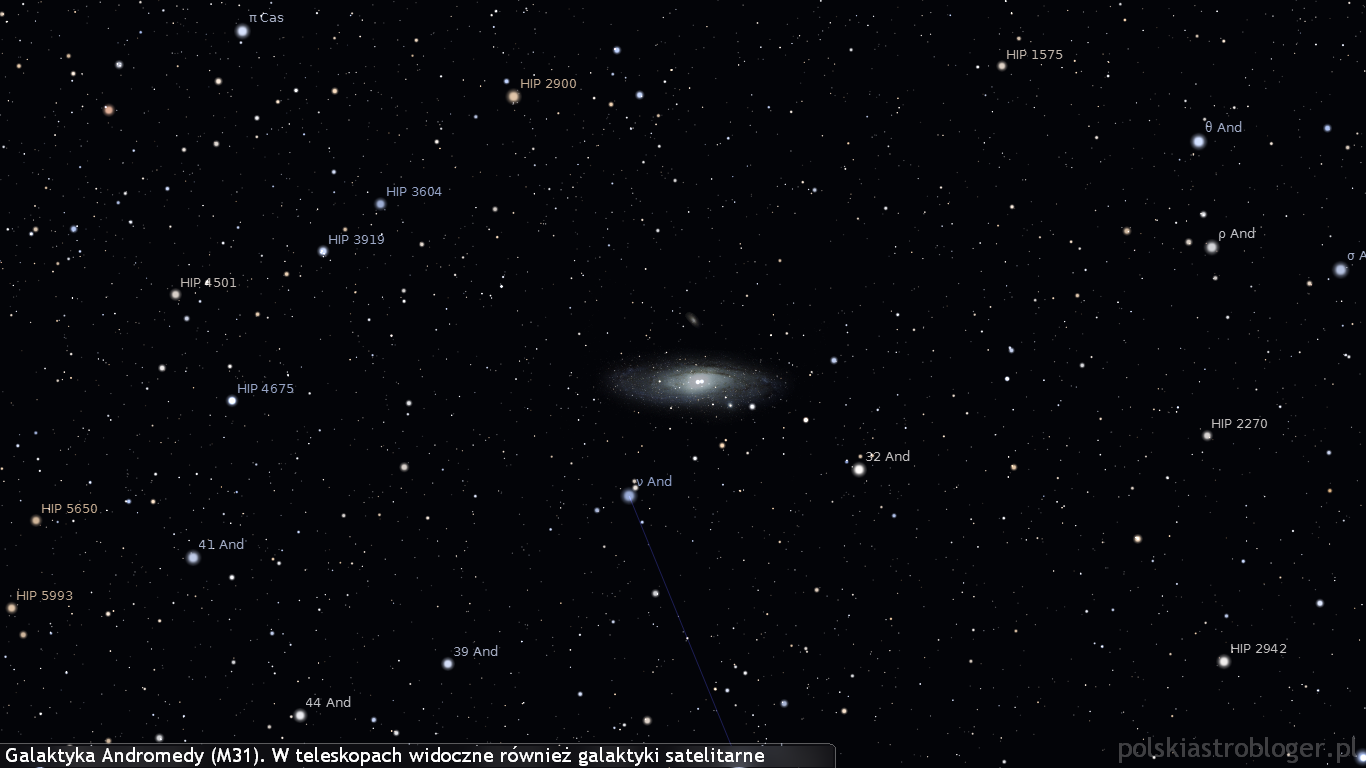 Galaktyka Andromedy (M31). W teleskopach widoczne również galaktyki satelitarne
