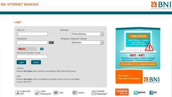 Reset Online User ID BNI Internet Banking