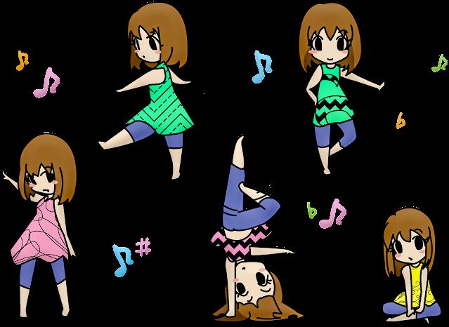 Waifu anime on different poses