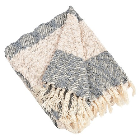 lightweight blue and cream throw blanket
