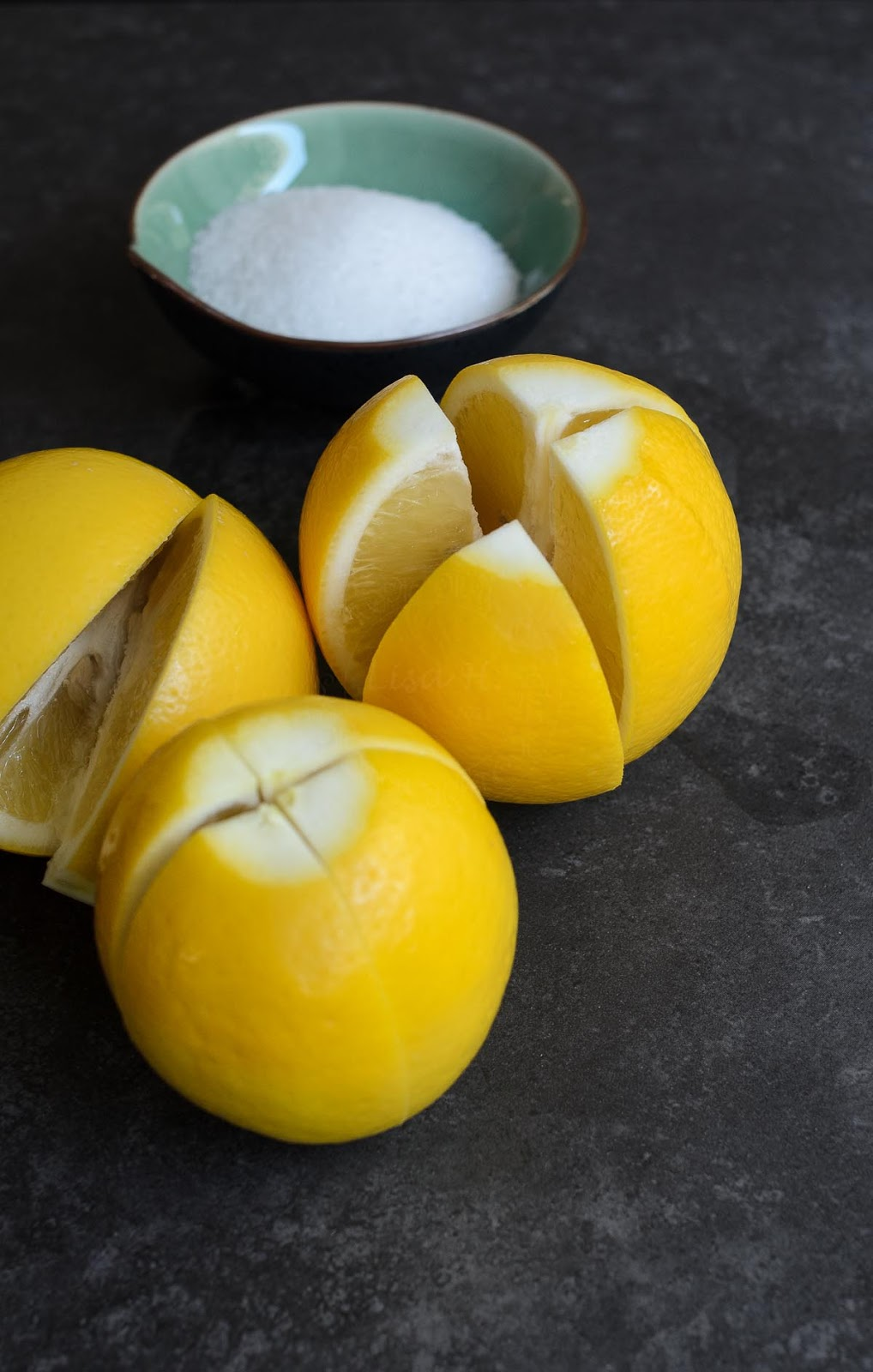 Cut lemons for preserving photo