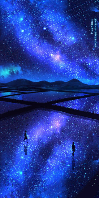 Watching the colorful night sky