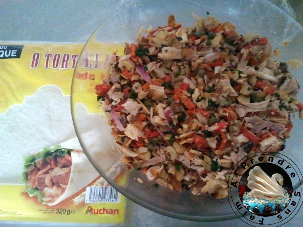 Salade froide de poulet aux poivrons grillés à rouler