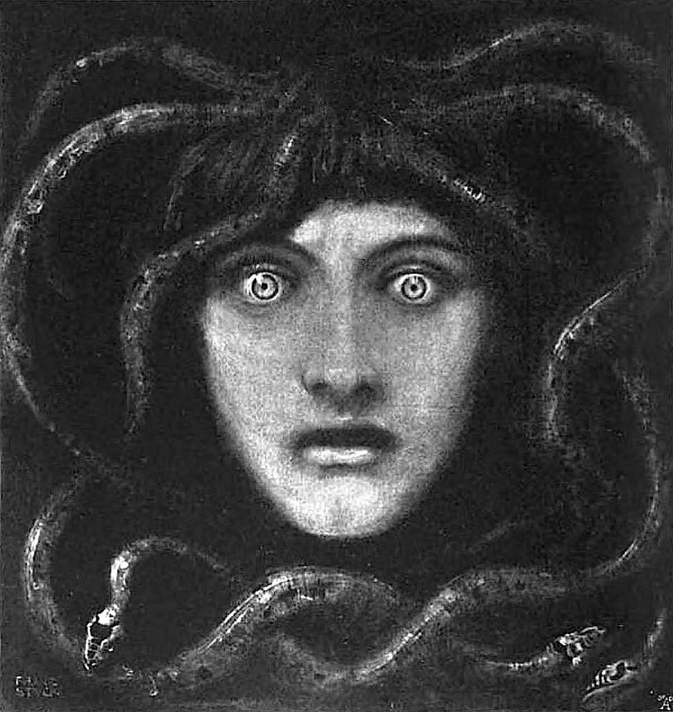 a Franz Von Stuck painting of Medusa