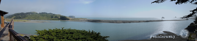 Panorama of the Russian River flowing into the Pacific Ocean as viewed from the restaurant