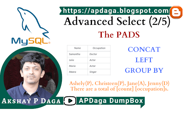 HackerRank: [Advanced Select - 2/5] The PADS |  CONCAT, LEFT, GROUP BY in SQL