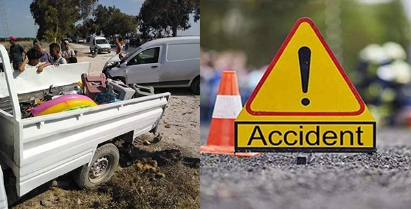 المهدية : 12 مصابا في حادث اصطدام سيارة بشاحنة خفيفة