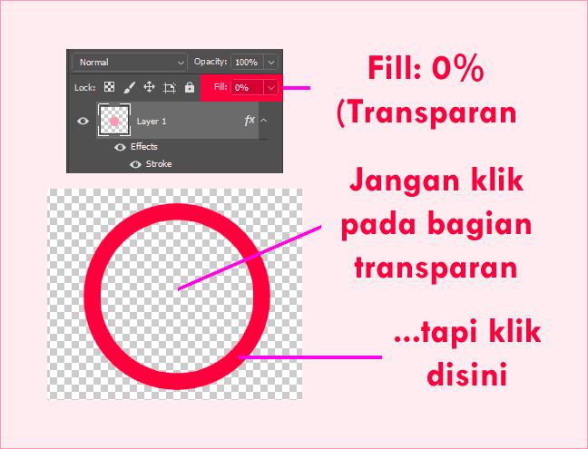 Auto-Select pada layer transparan di Photoshop tidak bisa digunakan