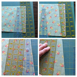 A collage of four photos show how to extend a short ruler with a longer one for accurate cutting