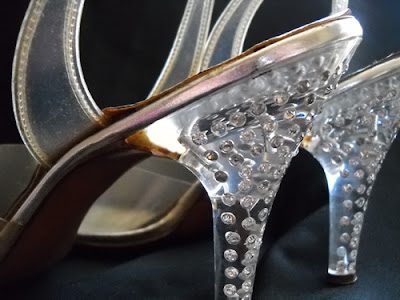 vintage lucite rhinestone shoes