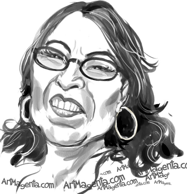 Roseanne Barr caricature cartoon. Portrait drawing by caricaturist Artmagenta.