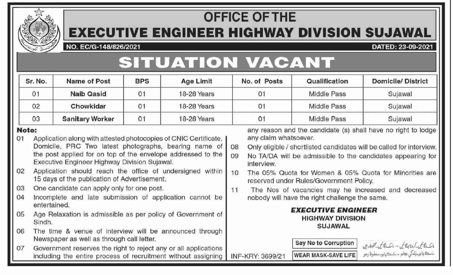 Executive Engineer Highway Division Sujawal Jobs 2021