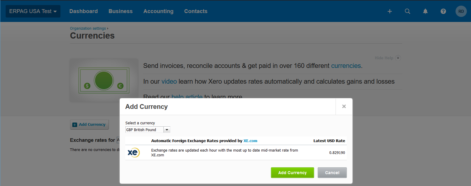 xero multi currency