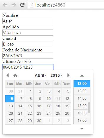 Editor de fechas personalizado
