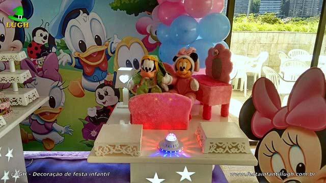 Decoração de aniversário infantil Baby Disney para festa feminina de 1 ano