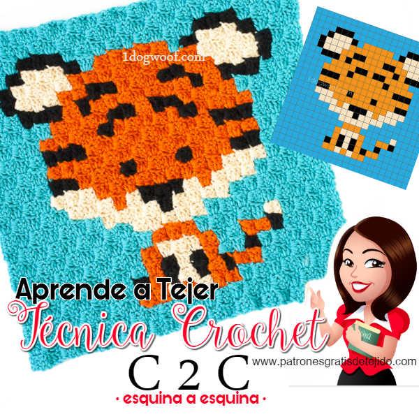 cómo tejer en técnica C2C al crochet