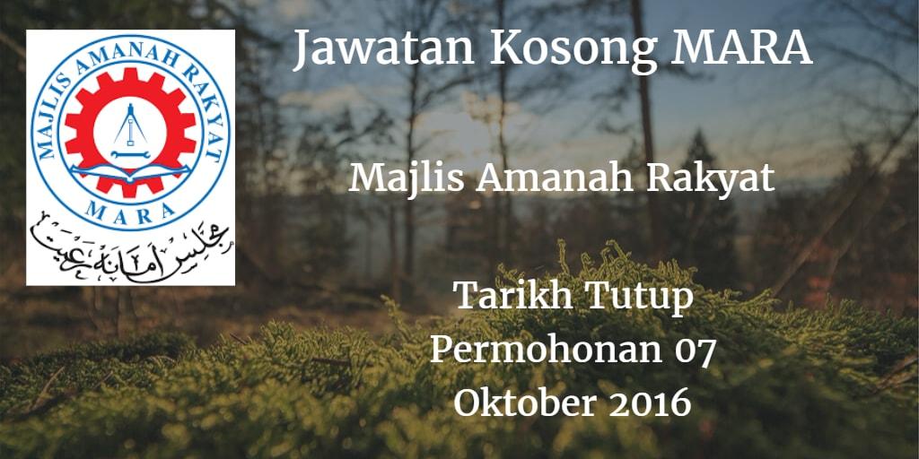 Jawatan Kosong MARA 07 Oktober 2016