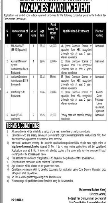 Federal Tax Ombudsman FTO Secretariat Jobs 2021 in Pakistan