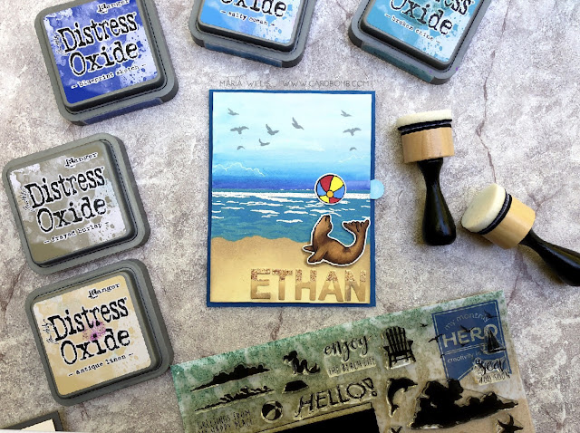 #cardbomb, #mariawillis, #heroarts, #mymonthyhero, #beach, #ocean, #sea, #seal, #timholtz, #distressinks, #distressoxideinks, #cards, #cardmaking, #stamp, #ink, #paper, #papercraft,
