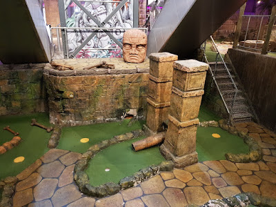 The Lost Valley Adventure Golf course at Amazonia in the Market Place Shopping Centre, Bolton. 14th March 2020.