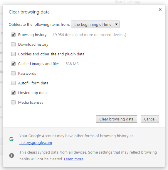 Google Chrome Clear Cache