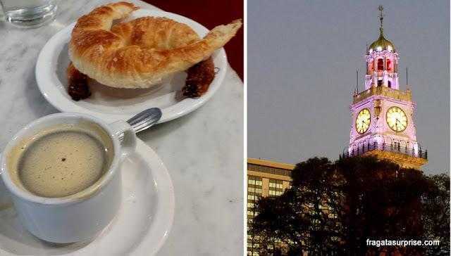Buenos Aires: café com medialuna e a a Torre Monumental do Retiro