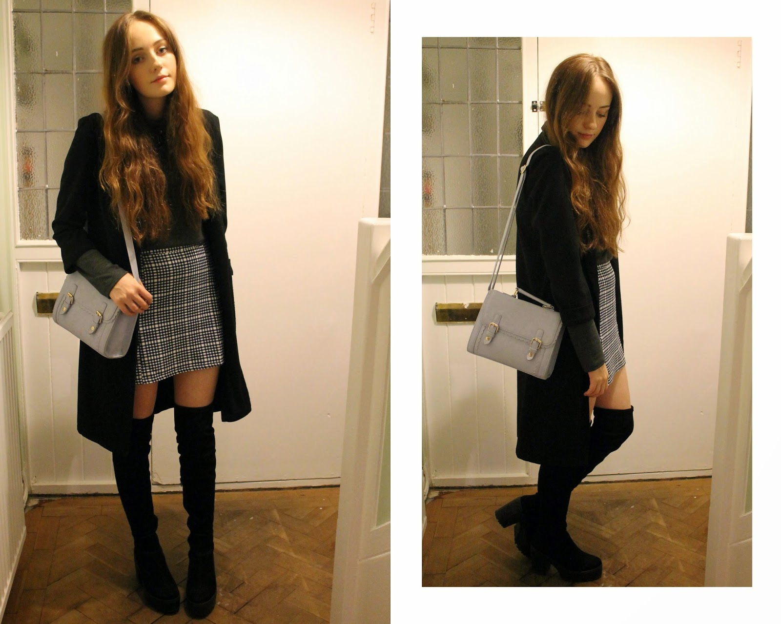 OOTD featuring glamorous black and white checked monochrome skirt from bank fashion worn with a black duster coat from primark