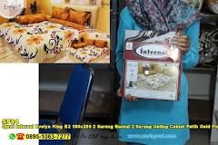 Sprei Internal Evelyn King B2 180×200 2 Sarung Bantal 2 Sarung Guling Coklat Putih Gold Floral Ornamen Dewasa Katun CVC