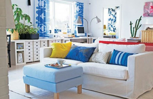Dep sito santa mariah salas pequenas bem decoradas for Black white and blue living room ideas