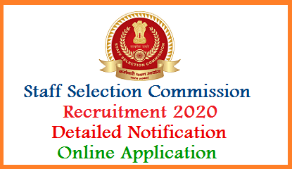 SSC 2020 Recruitment Notification Online Application Important Dates   Staff Selection Commission invitting Online Applications from eligible candidates for various vacancies in central services. Intended eligible jaspirants may submit Application Form Online at official website https://ssc.nic.in